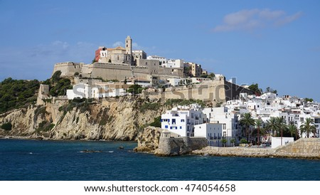 Santa Maria Cathedral, Ibiza seaport, Balearic Islands, Spain