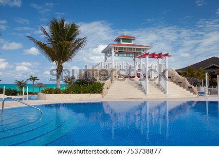 Santa Maria, Cuba - January 31,2017:  Swimming pool in Hotel Gaviota Cayo Santa Maria.Cuba main industry has become travel and tourism.