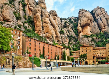 Santa Maria de Montserrat Abbey in Catalonia, Spain. - stock photo