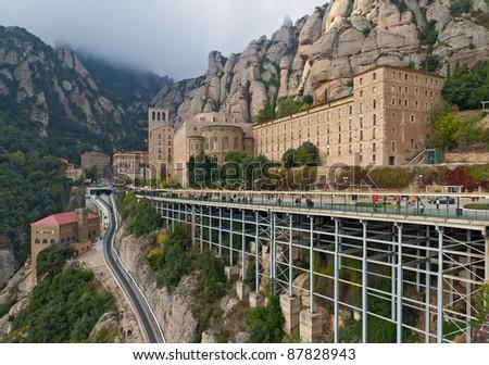 Santa Maria de Montserrat monastery. Catalonia, Spain. - stock photo