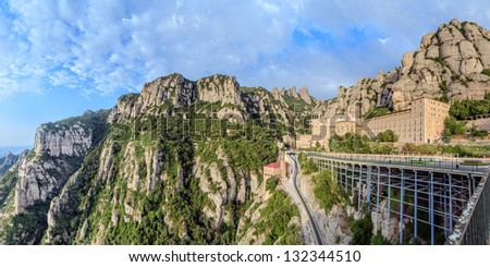 Santa Maria de Montserrat monastery. Catalonia, Spain. Panoramic of 50Mpx
