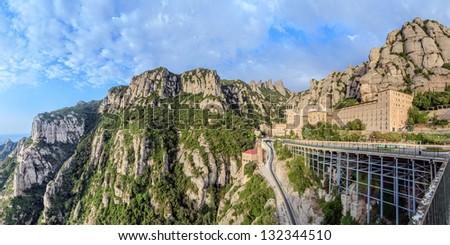 Santa Maria de Montserrat monastery. Catalonia, Spain. Panoramic of 50Mpx - stock photo