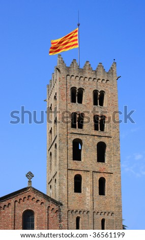 Santa Maria de Ripoll monastery (Catalonia, Spain). Founded in 879, is considered the cradle of the catalan nation. - stock photo