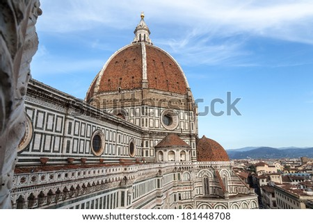 Santa Maria del Fiore, detail of the dome of Brunelleschi, Florence, Tuscany, Italy
