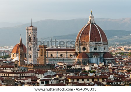 Santa Maria del Fiore view in Autumn evening, Florence, Italy