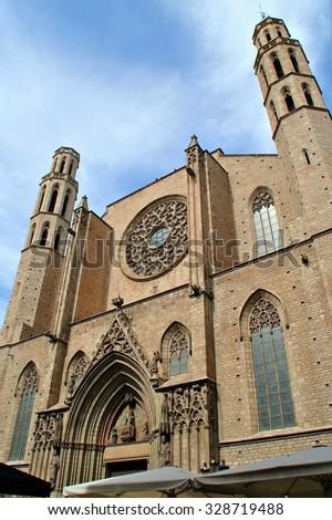 Santa Maria del Mar cathedral in Barcelona - stock photo