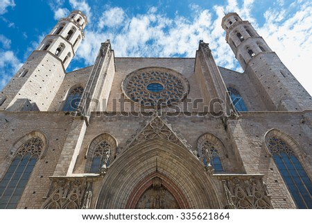 Santa Maria del Mar church facade in Barcelona, Spain. It is one of the most beautiful churches in Barcelona. - stock photo