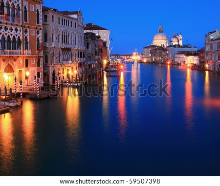 Santa Maria Della Salute, Church of Health, Grand canal Venice Italy at dusk and twilight time - stock photo