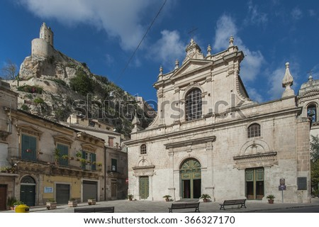 Santa Maria di Betlem facade, Baroque church in Modica, Ragusa, Sicily, Italy, Europe