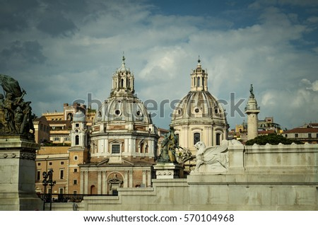Santa Maria di Loreto and  Santissimo Nome di Maria al Foro Traiano Churches and Trajans Column on a sunset, Rome, Italy