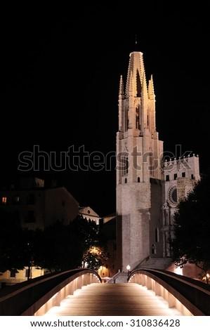 Santa Maria gothic catedral in Girona Catalonia Spain - stock photo