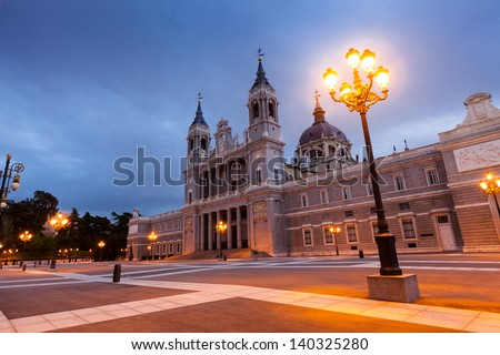 Santa Maria la Real de La Almudena cathedral in evening. Madrid - stock photo