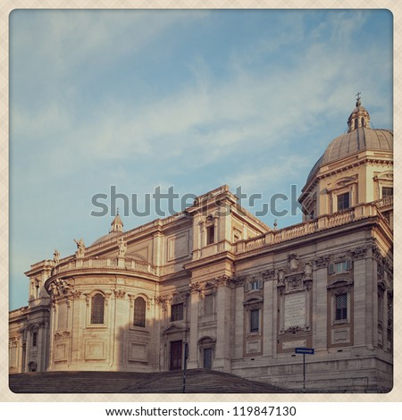 Santa Maria Maggiore Basilica details. shoot take with a mobile phone style - stock photo