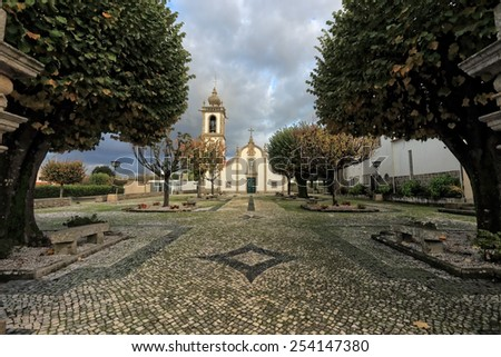 Santa Marinha catholic church, Forjaes, Esposende, north of Portugal - stock photo