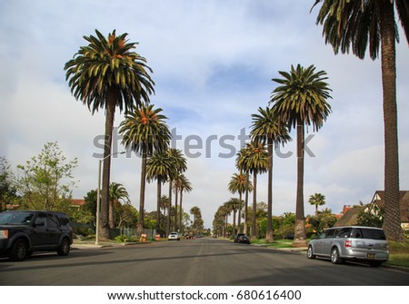 SANTA MONICA: April 6 - Residential street with tall palm tress on April 6 2017 in Santa Monica, CA