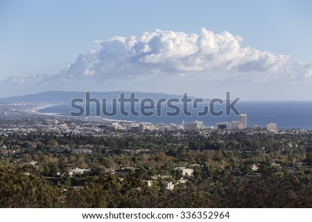 Santa Monica bay mountaintop view in Los Angeles, California.