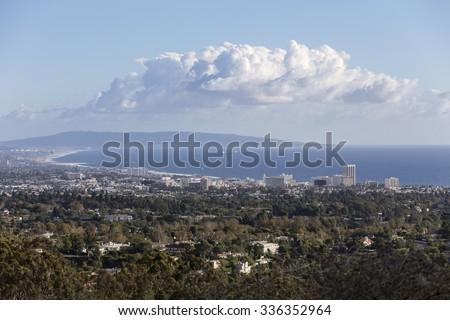 Santa Monica bay mountaintop view in Los Angeles, California.   - stock photo