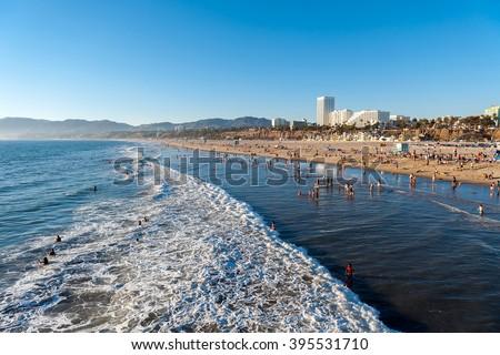Santa Monica beach at sunset, Los Angeles, California, USA - stock photo