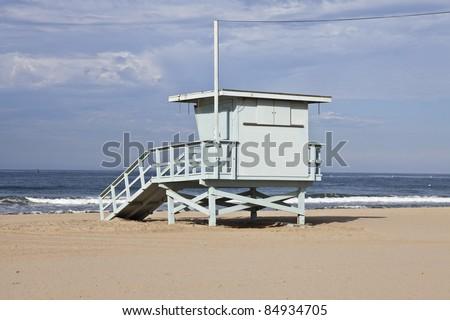 Santa Monica beach lifeguard tower in Southern California. - stock photo
