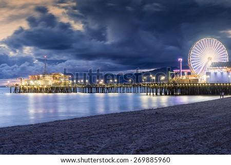 santa monica beach, Los Angeles, California - stock photo