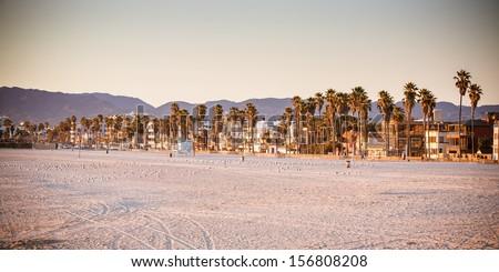 Santa Monica Beach on a warm sunny day in Los Angeles, California, USA - stock photo