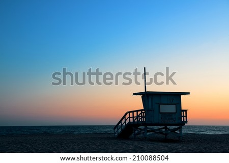 Santa Monica beach safeguard tower at sunset in Los Angeles - stock photo