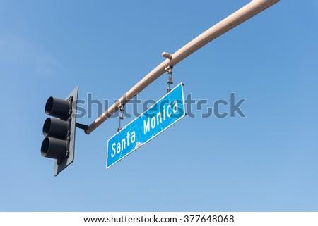 Santa Monica boulevard sign in Los Angeles - stock photo