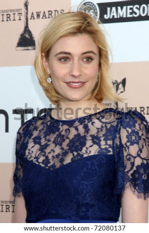 SANTA MONICA, CA - FEB 26:  Greta Gerwig arrives at the 2011 Film Independent Spirit Awards at the Beach on February 26, 2011 in Santa Monica, CA - stock photo