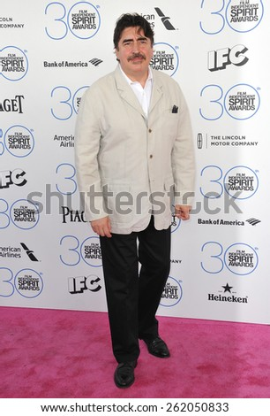 SANTA MONICA, CA - FEBRUARY 21, 2015: Alfred Molina at the 30th Annual Film Independent Spirit Awards on the beach in Santa Monica.