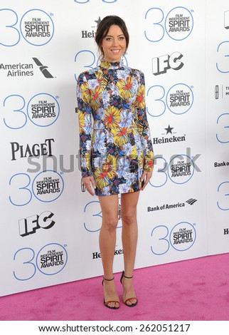SANTA MONICA, CA - FEBRUARY 21, 2015: Aubrey Plaza at the 30th Annual Film Independent Spirit Awards on the beach in Santa Monica.