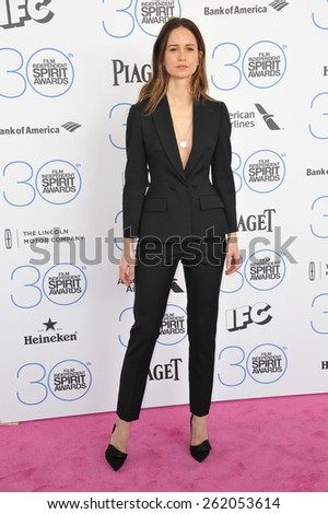 SANTA MONICA, CA - FEBRUARY 21, 2015: Katherine Waterston at the 30th Annual Film Independent Spirit Awards on the beach in Santa Monica.  - stock photo