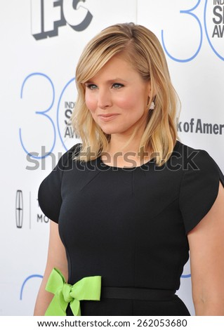 SANTA MONICA, CA - FEBRUARY 21, 2015: Kristen Bell at the 30th Annual Film Independent Spirit Awards on the beach in Santa Monica.  - stock photo