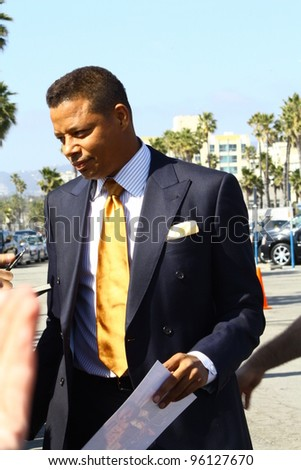 SANTA MONICA CA - FEBRUARY 25: Red Tails star Terrence Howard chats with fans at the Independent Spirit Awards held at the beach in Santa Monica, CA February 25, 2012