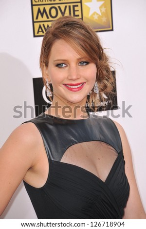 SANTA MONICA, CA - JANUARY 10, 2013: Jennifer Lawrence at the 18th Annual Critics' Choice Movie Awards at Barker Hanger, Santa Monica Airport. - stock photo