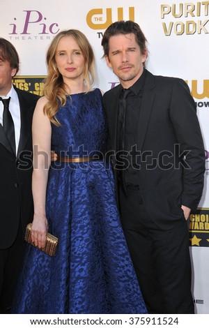 SANTA MONICA, CA - JANUARY 16, 2014: Julie Delpy & Ethan Hawke at the 19th Annual Critics' Choice Awards at The Barker Hangar, Santa Monica Airport. - stock photo