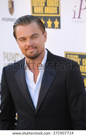 SANTA MONICA, CA - JANUARY 16, 2014: Leonardo DiCaprio at the 19th Annual Critics' Choice Awards at The Barker Hangar, Santa Monica Airport. - stock photo
