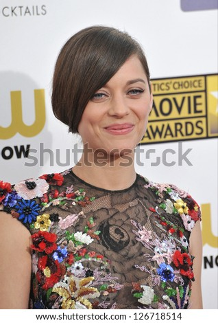 SANTA MONICA, CA - JANUARY 10, 2013: Marion Cotillard at the 18th Annual Critics' Choice Movie Awards at Barker Hanger, Santa Monica Airport. - stock photo