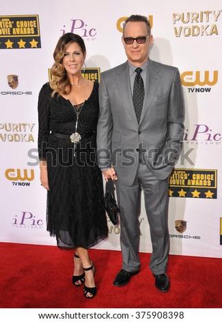 SANTA MONICA, CA - JANUARY 16, 2014: Tom Hanks & wife Rita Wilson at the 19th Annual Critics' Choice Awards at The Barker Hangar, Santa Monica Airport. - stock photo
