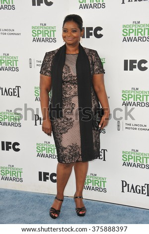 SANTA MONICA, CA - MARCH 1, 2014: Octavia Spencer at the 2014 Film Independent Spirit Awards on the beach in Santa Monica, CA.
