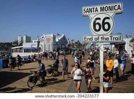 SANTA MONICA, CALIFORNIA - TUES. JUNE 24, 2014: A sign commemorates the end point of Route 66 in Santa Monica, California, on Tuesday, June 24, 2014.