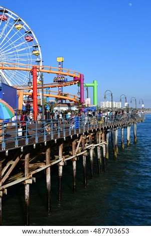 Santa Monica, California, USA - july 15 2016 : the picturesque pier in summer