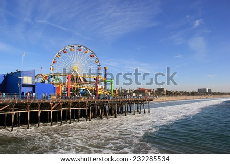 Santa Monica, California, USA - November 16, 2014: Pacific Park is the only amusement park located on a pier on the west coast of the United States.  - stock photo