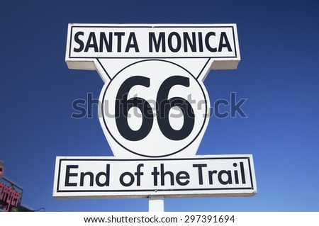 Santa Monica, California, USA 5/2/2015, Route 66 sign Santa Monica Pier, end of famous Route 66 highway from Chicago