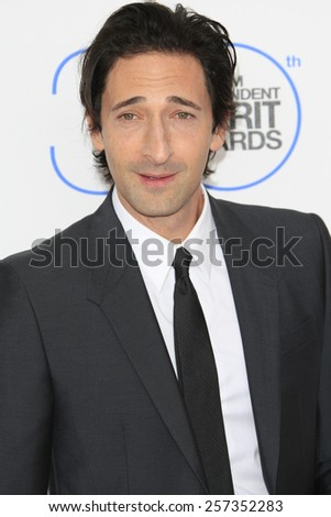 SANTA MONICA - FEB 21: Adrien Brody at the 2015 Film Independent Spirit Awards on February 21, 2015 in Santa Monica, California