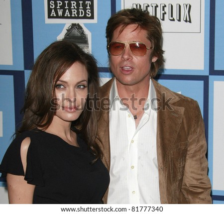 SANTA MONICA - FEB 23: Brad Pitt and Angelina Jolieat the 2008 Independent Spirit Awards held on the beach in Santa Monica, California on February 23, 2008 - stock photo