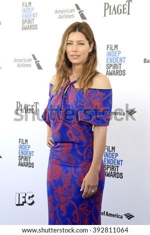 SANTA  MONICA - MAR 1: Jessica Biel at the 2016 Film Independent Spirit Awards at Santa Monica Beach on February 27, 2016 in Santa Monica, California - stock photo