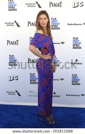 SANTA  MONICA - MAR 1: Jessica Biel at the 2016 Film Independent Spirit Awards at Santa Monica Beach on February 27, 2016 in Santa Monica, California - stock photo