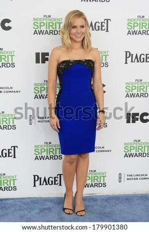 SANTA  MONICA - MAR 1: Kristen Bell at the 2014 Film Independent Spirit Awards at Santa Monica Beach on March 1, 2014 in Santa Monica, California - stock photo
