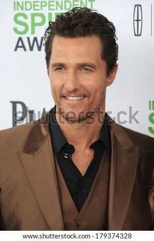SANTA  MONICA - MAR 1: Matthew McConaughey at the 2014 Film Independent Spirit Awards at Santa Monica Beach on March 1, 2014 in Santa Monica, California - stock photo