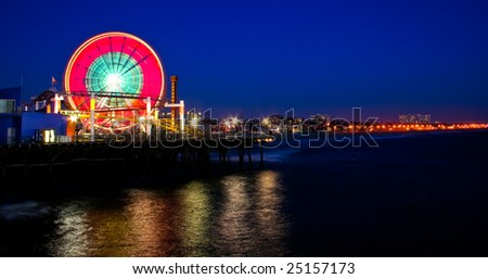 Santa Monica Pier at night - stock photo